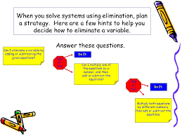 when you solve systems using elimination plan a strategy