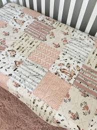 boho baby quilt fox crib bedding girl