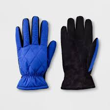 80 pcs goodfellow co men s quilted fleece nylon lined leather gloves blue m l new retail ready