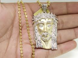men 10k yellow gold matte real diamond face piece pendant charm with chain