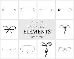 手描きかわいい枠仕切り矢印と弓 いたずら書きのベクターアート素材や