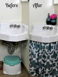 how to make a sink curtain skirt easy diy tutorial blebee linens