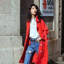 red trench coat womens style long trench coat women red loose autumn coat female overcoat las red trench coat womens