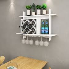 Goplus Wall Mount Wine Rack W/ Glass Holder U0026 Storage Shelf Organizer Home  Decor White
