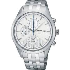 pulsar sports chronograph black dial chronograph chrome stainless pulsar alarm chronograph white dial stainless steel bracelet mens watch pf3923x1