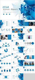 27 Blue Annual Report Chart Powerpoint Templates
