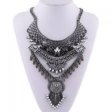 vintage layered rhinestone bullet shape pendant necklace for women black