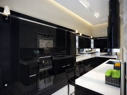 Ultra Modern Kitchen With Sleek Black Appliances And Cabinets With White  Countertops