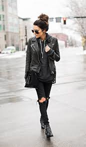 christine andrew shows off the rocker girl style perfectly in these distressed black jeans and punky