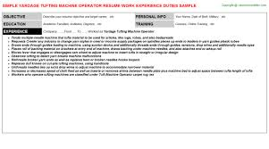 Yardage Tufting Machine Operator Resume | Resumes Templates ...