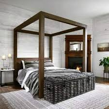Bed Frame With Canopy Wooden King Platform Canopy Bed Frame ...