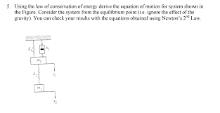 question using the law of conservation of energy derive the equation of motion for system shown in the fig