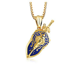 punk sword shield lion pendant necklace gold color black groupon