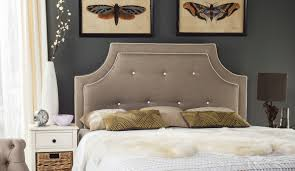 Tallulah Smoke & White Piping Arched Tufted Headboard HEADBOARDS