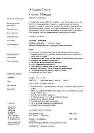 General Manager Resume Cv Example Job Description Sample