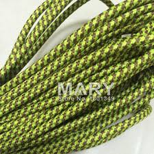 100m 2075 green and brown color vintage style edison light lamp cord grip twisted brown fabric lighting