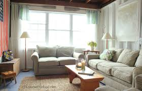 coastal cottage beach house living room with slipcover sofas