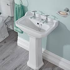 Bathroom Suites Ebay Traditional White Bathroom Ceramic Two Tap Hole Basin Sink With