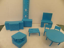 mini furniture sets. Vintage 1950\u0027s Superior Marx Plastic Dollhouse Furniture 8 Piece Blue Set , Miniature For Tin Metal Mini 1:16 Diorama By ShersBears On Sets P