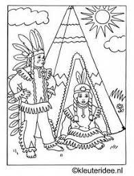 Kleurplaat Indianen Bij Tipi Kleuterideenl Intiaani Teema