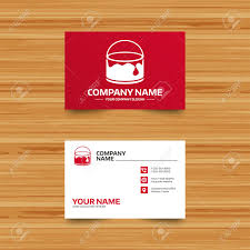 business card template bucket of paint icon painting works sign painter equipment