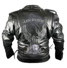 leather eagle embossed motorcycle jacket 125 00