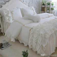 luxury princess lace ruffle bed set twin full queen king cotton