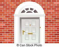 front door clipart. Front Door On Brick Wall Clipart Can Stock Photo