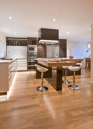 contemporary kitchen island with a wooden table and benches view