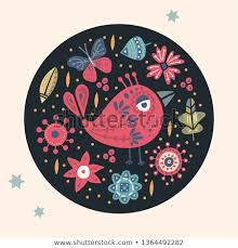 <b>Cute cartoon</b> vector bird card. Folk art vector animal illustration <b>in</b> ...