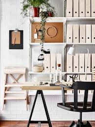 White airy home office Inspiration This Home Office Looks So Airy And Comfortable Mainly Because Of The White Light Wood Combo Aww And The Black Details Just Add Modern Touchu2026 Forooshinocom Ikea Comfy Organized Home Office Daily Dream Decor