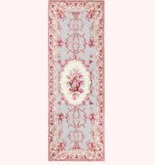 artisan made long pink and blue aubusson area rug
