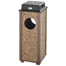 rubbermaid fgr41wu201pl aspen ash trash brown with desert brown stone panels square steel waste receptacle