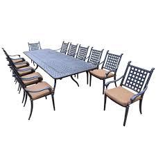 13 piece aluminum outdoor dining set with sunbrella brown cushions