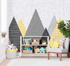 mountain design fabric wallpaper kids playroom ideas