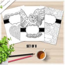 Coloring Page Binder Cover Binder Covers Coloring Pages Set Of 8 Printable Pdf Coloring Etsy