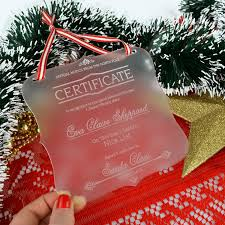 engraved acrylic christmas santa certificate personalised favours professionally laser engraved cut from frosted acrylic