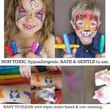 com best face paint kit for kids with 12 non toxic color sticks best quality painting set sy case 12 bonus stencils ebook easy to