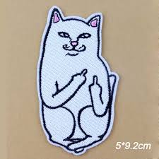 Novelty <b>Hip Hop</b> Middle Finger White Cat Embroidery Clothes <b>Patch</b> ...
