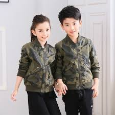 2018 teenage camouflage faux leather jacket armygreen childrens pu clothing top for 3 16t boys and girls