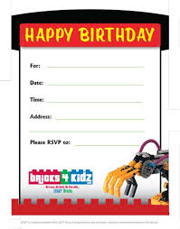 Sample Party Invite Sample Birthday Party Invitations From Bricks 4 Kidz Bricks 4 Kidz