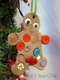 Christmas crafts for kids - gingerbread ornament. Gingerbread Man Ornament from Teaching 2 and 3 Year Olds 45 Crafts Olds! How Wee Learn