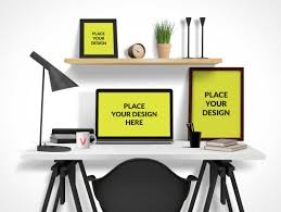 Office Photo Frame Design Office Desktop Psd Mockup With Computer Poster And Picture
