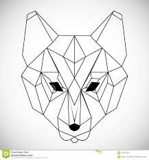 геометрический волк головы вектора нарисованный в стиле линии или