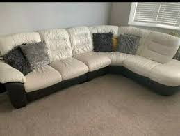 dfs white and brown leather corner sofa