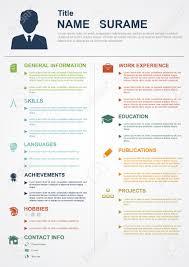 Infografik Vorlage Mit Symbolen F R Cv Pers Nliches Profil