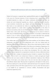 academic essay cultural self awareness and cross cultural team buil
