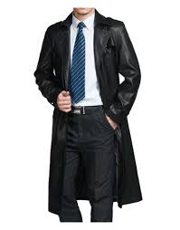 mens black leather trench coat