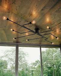 wooden ceiling with contemporary low profile lighting