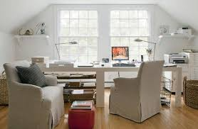 dual desk home office. Home Office With Sideside Desks In Front Of Windows Cottage Regarding Modern Dual Desk Decor